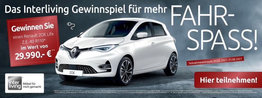Gewinnen Sie mit Hansel und Interliving einen Renault Zoe Life Z.E., das tolle Elektroauto.